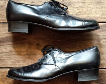 1930's Wilbur Coon Shoes all leather oxford pumps - Women's (1930's) size 9 AA(slim) - black - as-new/never worn condition
