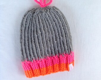 GREY and FLUO Winter hat
