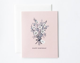 Birthday Bouquet Card, Floral Birthday Card, Birthday Flowers