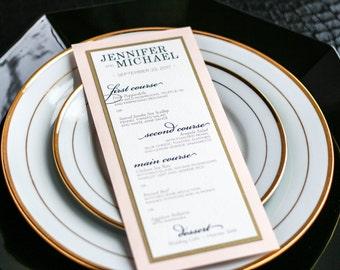 "Blush and Gold Wedding Menus, Navy Blue and Pink Dinner Menu, Classic and Elegant Layered Menu for Table - ""Classic Elegance"" M-2L - DEPOSIT"