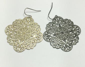 "boho earrings, filigree earrings, India floral,  moroccanearrings,  gypsy earrings, 2"" long"
