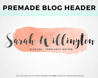 Premade Blog Header - pick your own! | Watercolor Header Image, Blog Header Logo, Blog Logo Design, Minimalist Header Template, Free Header