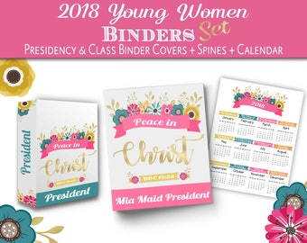 YW 2018 Binder Set Editable LDS Young Women 2018 Binder Cover + Spine + Calendar Presidency and Classes Peace in me Peace in Christ