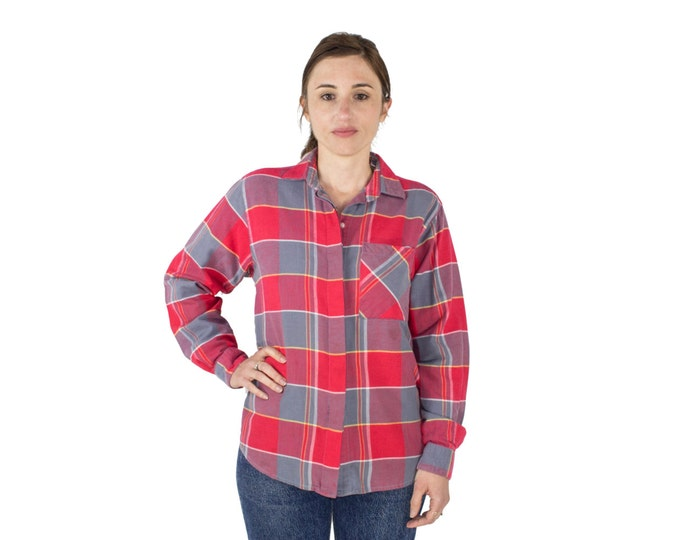 Vintage 80s Diane Von Furstenberg Flannel Shirt | Red and Grey Plaid Button-down Top | Size Medium | Boho Chic | Grunge Clothes