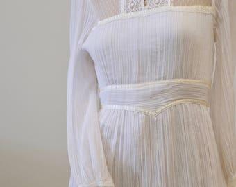 1970's Vintage Gunne Sax Prairie Girl Puff Sleeve Cotton Long Maxi Dress All White Gauzey Accordion Pleated Cotton Ivory Satin Trim Size 2