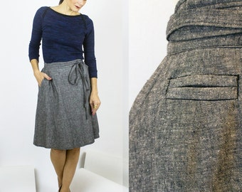 Cindy Wrap skirt, Organic Cotton + Hemp denim adjustable skirt, Eco friendly fashion, Sustainable fashion