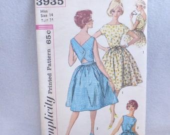 Vintage Mid Century Simplicity Pattern 3935 Misses Sun Dress Size 14 Factory Fold