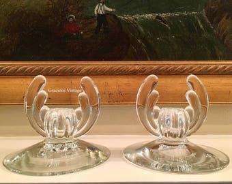Vintage Art Deco Candle Holder Set - Free Shipping