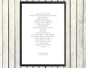 Charles Bukowski Printable Poem 'The Laughing Heart' Instant Download Literature Poster Inspirational Poem Digital Print Words of Wisdom