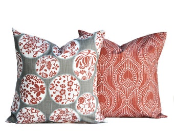 Two Scarlet and grey pillow covers, cushion, decorative throw pillow, Medallion pillow, accent pillow, Grey pillow, pillow case