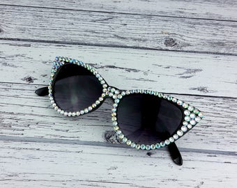 HOLLYWOOD Silver & Black Bling Cat Eye Sunglasses Sparkly Festival Sunglasses Rhinestone Rockabilly Pin Up Sunnies Retro Cats Eye Sunglasses
