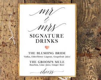 Rose Gold + Black & White Signature Drink Menu | Wedding Reception Bar Sign | Customized Printable Wedding Sign