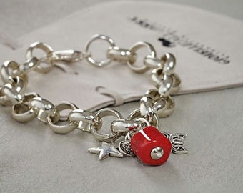 Aluminum bracelet with charms and bamboo coral