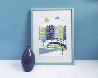 Amsterdam Art Print / Houses Art Print / Street Wall Art / Mothers Day Gift / House Boat / Gift For Travelers / Travel Gift