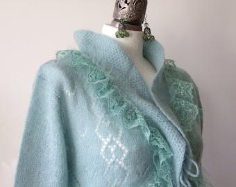 Cardigan aqua, wedding cardigan, romantic sweater, knit bolero & vintage lace, romantic cardigan, lace knit sweater, avant garde boho shrug