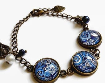 Bracelet cabochon * blue Indian paisley * traditional Kashmir blue white, glass cabochon