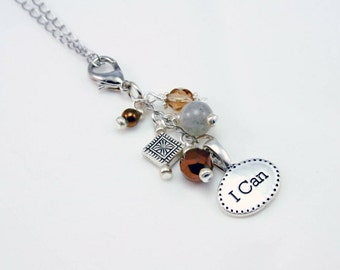 Charm Necklace - Genuine Stone Necklace. Beaded Charm Necklace. Positive Affirmation Beaded Stone Necklace. NKL032