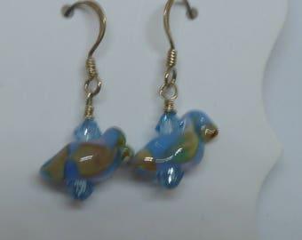 Earrings,Bird earrings on silver, blue/brown