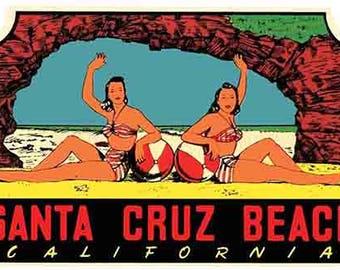 Vintage Style Santa Cruz Beach California   Hot Rod   pin-up girls Surfing  1960's   Travel Decal bumper sticker surf surfboard