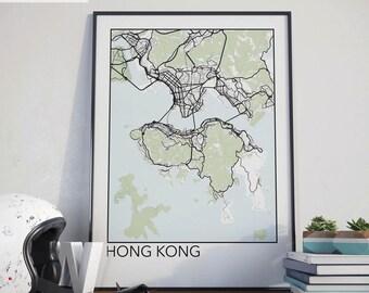 Hong Kong Minimalist City Map Print