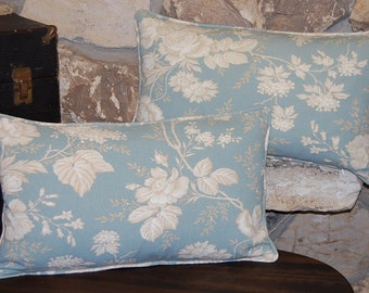 """Green Blue Thorny Rose Pillow Cover 12"""" x 20"""" Restoration Hardware teal front floral rose bush Pottery Barn ivory backing pillowcase"""