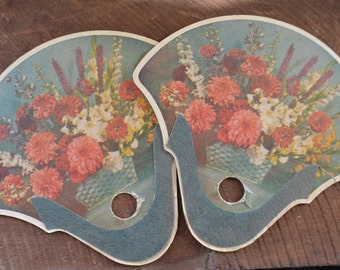 Vintage Wallace Farmer Des Moines Iowa Advertising Handheld Paper Cardboard Floral Hand Fan - Lot of 2