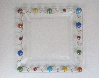 Beaded Serving Platter, Beaded Square Platter, Dinner Plate, Square Plate, Wire Wrapped Plate