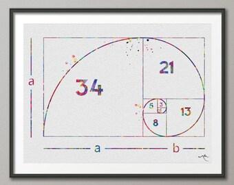 Fibonacci Spiral Watercolor Print Fibonacci Sequence Numbers Golden Spiral Geometric Art Golden Ratio Science Art Dorm Wall Mathematics-1041