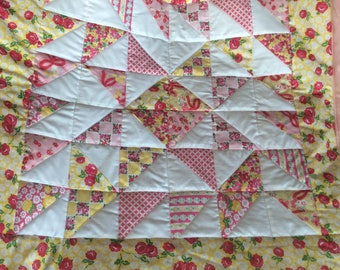 Baby Girl Quilt with Pink Minky Backing