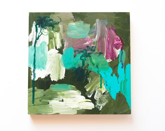 "Original Art Green Abstract Painting, 8x8"""