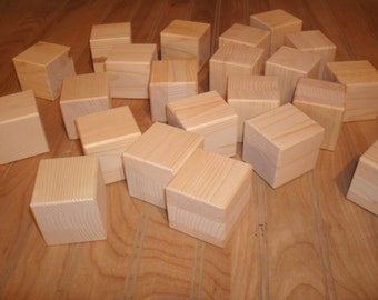 "40 unfinished 2"" wood  blocks, wood baby  blocks 2"" square, craft blocks, baby shower activity blocks"
