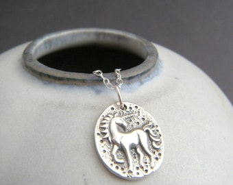 sterling silver unicorn coin necklace rustic whimsical pendant small girly charm fairytale fairy tale fun jewelry unique gift tween her 5/8""