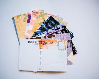 5 assorted letterpress postcards
