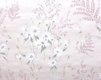 1960s Vintage Wallpaper by the Yard - Floral Wallpaper with White Daisies