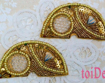 2 BEADED 1/2 CIRCLE APPLIQUE - Sew On with pearls and sequins
