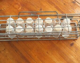 Shelf spice vintage metal spice glass lab bottle rack