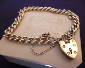 "A superb vintage silver bracelet - heart charm clasp - safety chain - 925 - sterling silver - 7"" - e"