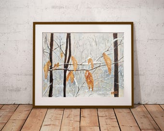 "Winter decor painting, Winter painting, Art present for her,Winter decor wall art, 1st anniversary gift,Entryway decor,""Winter leaves"" print"