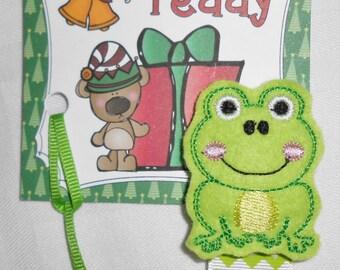 Frog Feltie Pacifier Clip