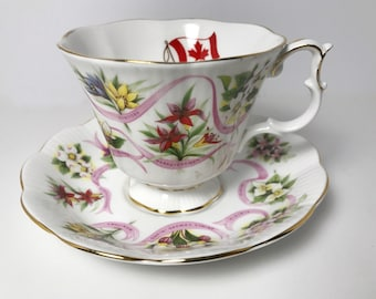 Vintage Royal Albert Teacup and Saucer - Our Emblems Dear - Canada - Gainsborough Shape Cup - English Fine Bone China