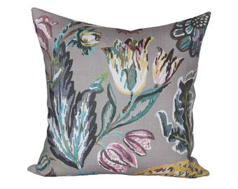 Fiori Gray designer pillow covers - Made to Order