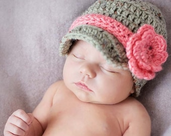 Newborn Baby Girl Coming Home Outfit - New Baby Hat Gift - Photography Props - Newborn Hat - Baby Girl Crochet Hat, Newborn Photo Prop