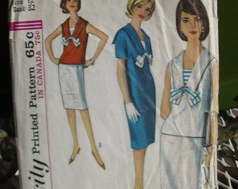 Simplicity pattern 5840 Misses' one-piece dress or overblouse and skirt from 1964