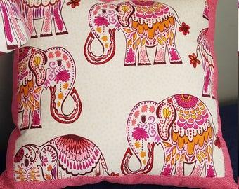 elephant accent pillow, elephant throw pillow, Bohemian elephant nursery pillow, pink elephant pillow, elephant baby girl nursery
