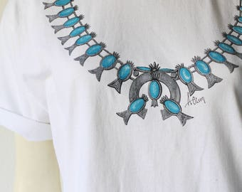 90's Vintage Squash Blossom Necklace Screen Print Shirt