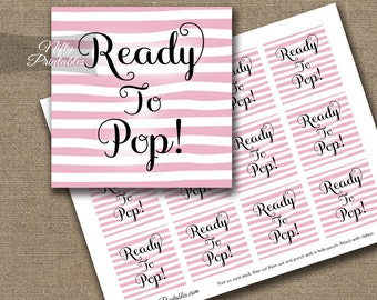 Ready To Pop Shower Favor Tags - Printable Pink & White Baby Shower Popcorn Favor Tags - Ready To Pop Baby Shower Decor - DSP