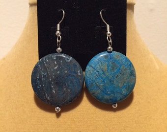 Blue Sky Jasper Flat Round Earrings, Blue Sky Jasper Earrings, Jasper Earrings, Dangle Earrings, Natural Stone Earrings