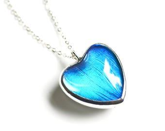 Real Butterfly Wing Necklace. Butterfly Heart Necklace. Heart Jewelry. Heart Pendant. Real Blue Morpho Butterfly Jewelry.