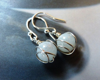 Aquamarine silver earrings, wire wrapped earrings, handmade natural jewelry