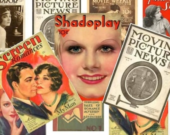 Retro Hollywood Magazine Tags Digital Collage Sheet ATC ACEO postcards greeting cards vaudeville tags paper supplies UPrint 300jpg